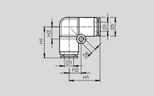 Dimensões Conexão Pneumática Cotovelo QSL-4 FESTO Pahc Automação