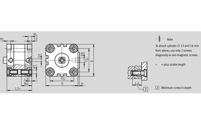 Dimensões Cilindro Pneumático ADVULQ FESTO PAHC Automação