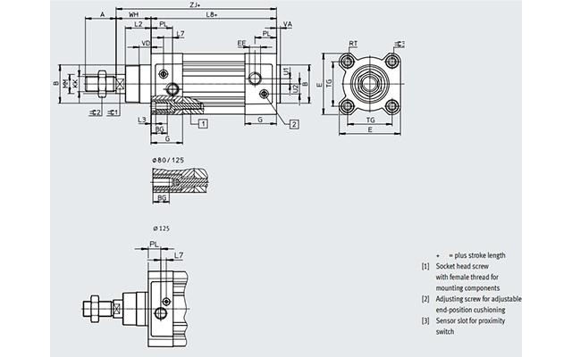 Dimensões Cilindro Pneumático DSBC-32-150-PPSA-N3 FESTO PAHC Automação