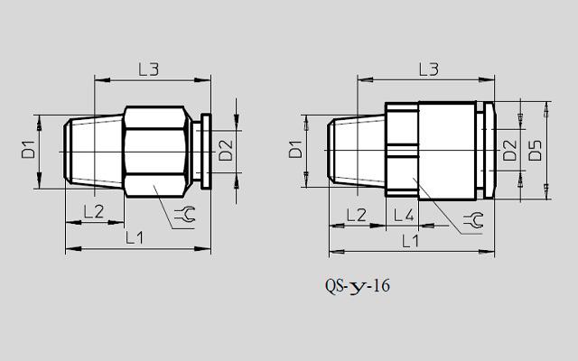 Dimensões Conexão Pneumática QSM-M5-4 FESTO Pahc Automação